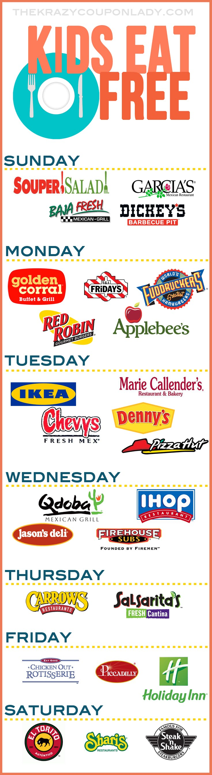 A Comprehensive Guide To Kids Eat Free Restaurants The Krazy Coupon Lady