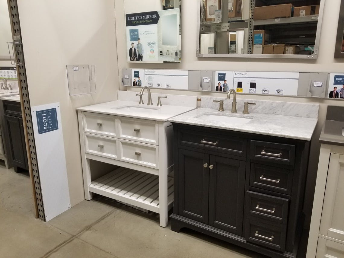 Picture of: Property Brothers Bathroom Vanity W Mirror 100 At Lowe S Reg 400 The Krazy Coupon Lady
