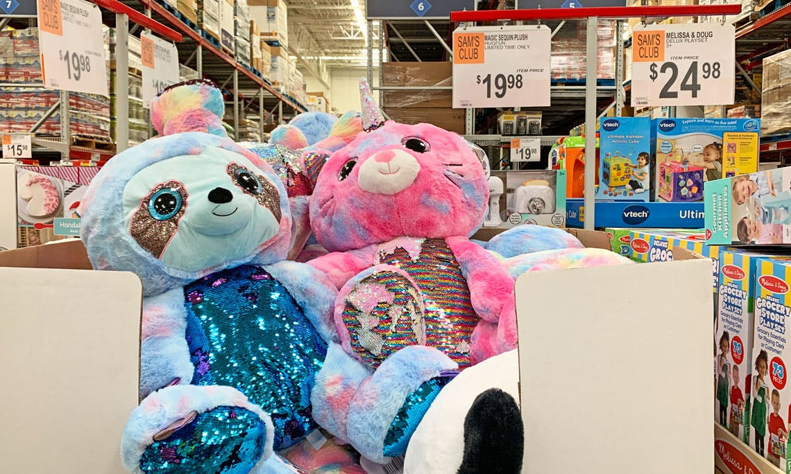 Blue Big Teddy Bear, 19 98 Hugfun Magic Sequin Plush Stuffed Animal At Sam S Club The Krazy Coupon Lady