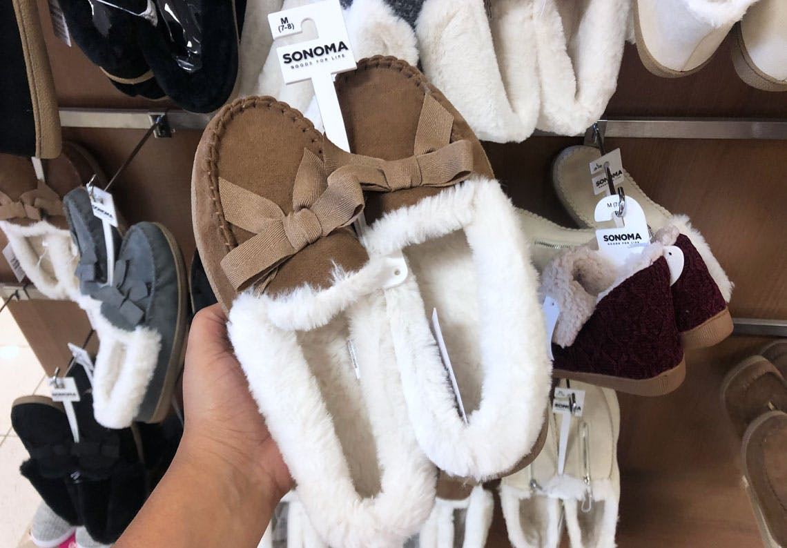 Women's Sonoma Moccasin Slippers, $10