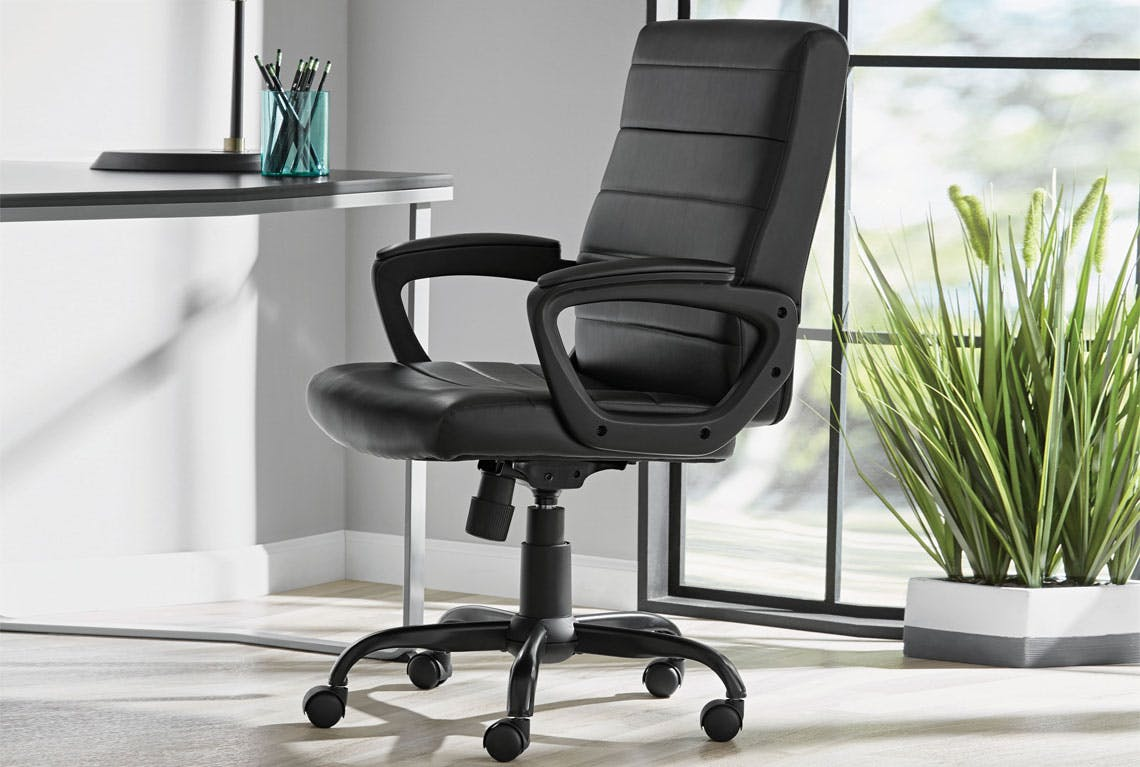 Picture of: Bonded Leather Memory Foam Office Chair 69 On Walmart Com The Krazy Coupon Lady