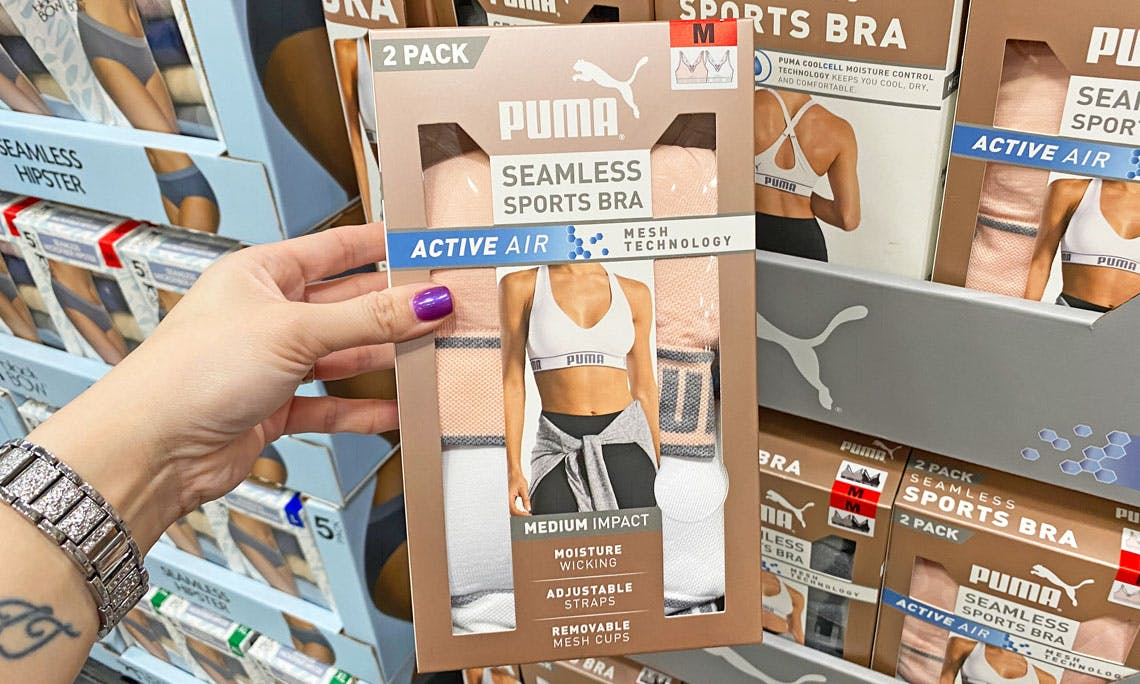 Puma Ladies Sports Bra 2 Pack As Low As 11 99 At Costco The Krazy Coupon Lady