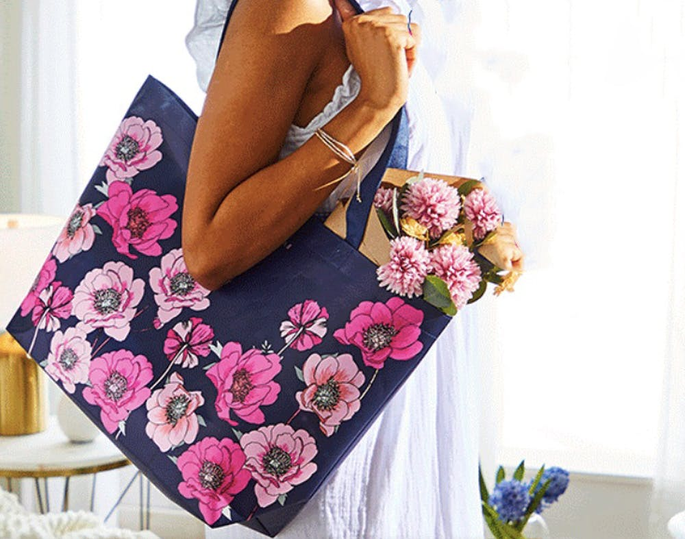 Bath /& Body Works Mothers Day Spring 2020 Floral Tote *Tote Only* Navy Blue