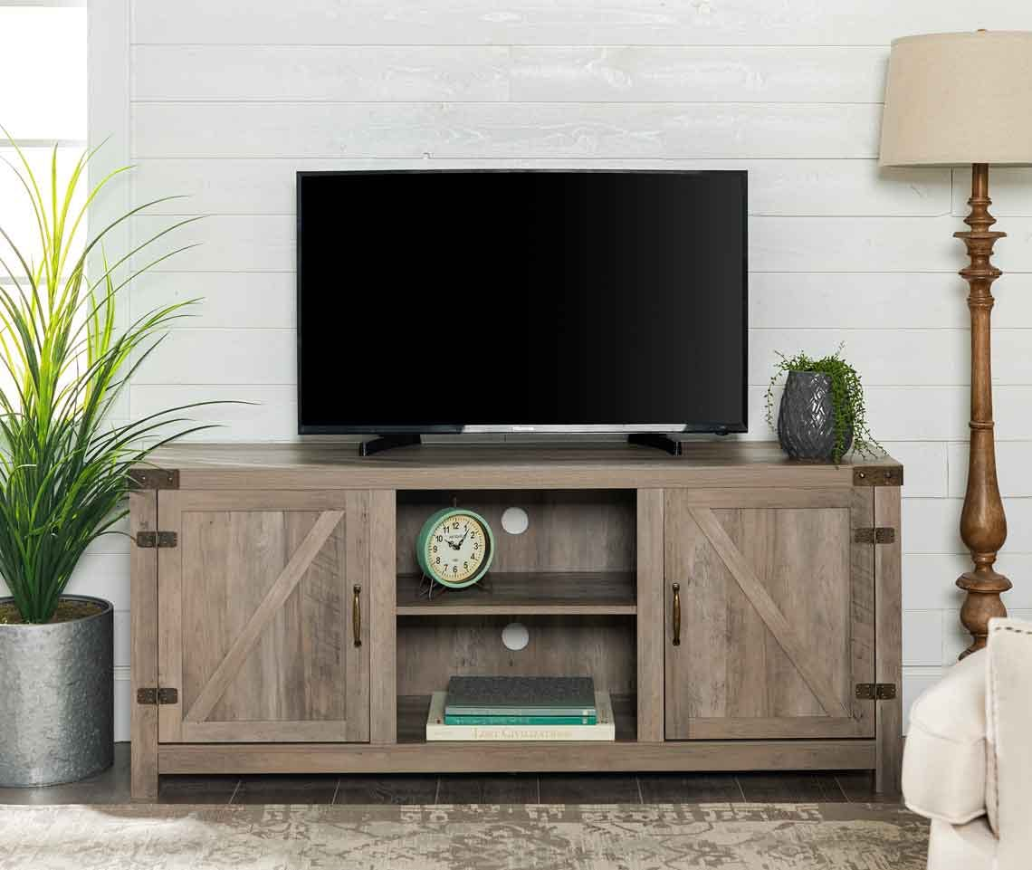Farmhouse Barn Door Tv Stand 168 On Walmart Com The Krazy Coupon Lady