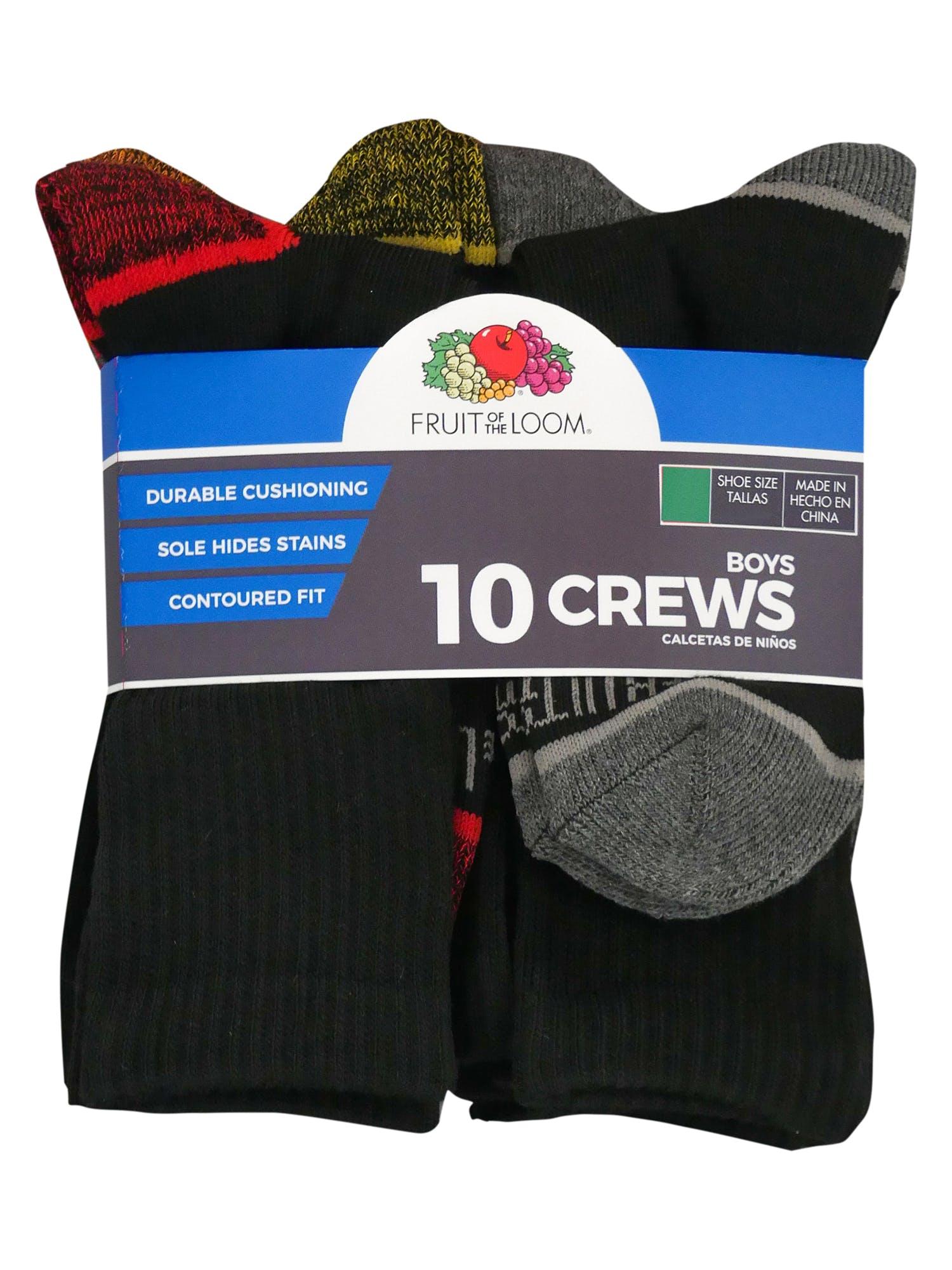 Fruit of the Loom Boys Big 10 Pack Crew Socks
